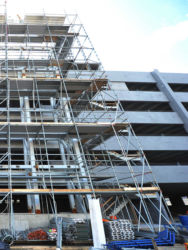 January 2015 - Scaffolding Around the Lot P4 Garage Elevator Bank Site