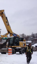February 2015 - Crew Members Move P4 Parking Lot Toll Booth into Position