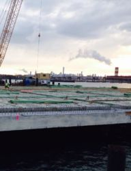 April 2015 - Pile Driving in the Background and Rebar Installation in the Foreground