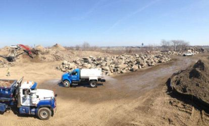 April 2015 - Panorama of Ingraham's Mountain Excavation, Soil Screening, Rock Crushing and Debris Removal