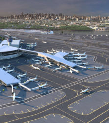 Key features of the new Terminal B include pedestrian bridges over the active taxi lanes with sweeping views of the airfield and the Queens and Manhattan skylines.