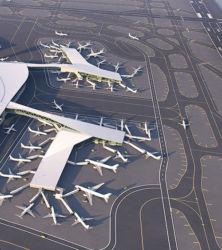 Aerial view of LaGuardia Airport's new Terminal B